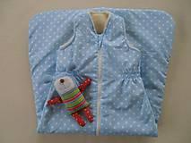 Textil - Ovčie rúno Detský spací vak na zimu 100% MERINO TOP super wash Hviezdička bledomodrá - 7783562_