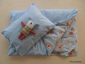 Textil - Obojstranné obliečky do postieľky 100% bavlna Hviezdička a Psíčkovia bledomodrá - 7780010_