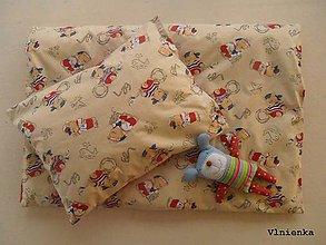 Textil - Obliečky do postieľky 100% bavlna Macko Námorník béžový - 7780175_