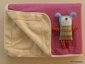 Úžitkový textil - Ovčie rúno Vlnená deka 100% merino Top s kašmírom BODKA ružová - 7780310_