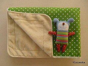 Úžitkový textil - Ovčie rúno Vlnená deka 100% merino Top s kašmírom Hviezda zelená - 7780320_
