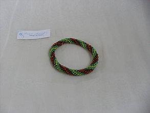 Náramky - Háčkovaný náramok zeleno-hnedý - 7782840_