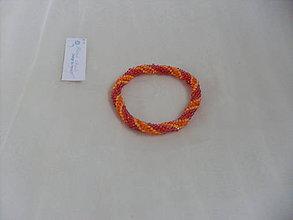 Náramky - Háčkovaný náramok oranžovo-vínový - 7783017_
