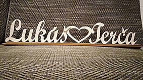 Darčeky pre svadobčanov - Krstné mená so srdiečkom - 7783411_
