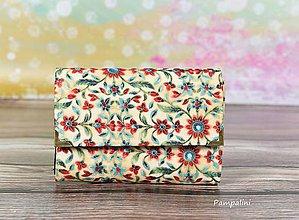 Peňaženky - Květy na bílé - 7782031_