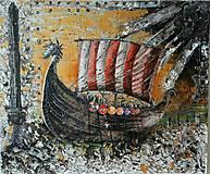 Obrazy - vikingská loď - 7782459_