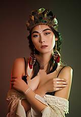 Sady šperkov - Bohémsky set - čelenka a náušnice z peria - 7778798_
