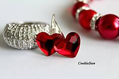 - Náušnice Swarovski Heart Light Siam - 7779832_