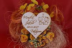 Drevená svadobná magnetka ako vyslužka hosťom  95