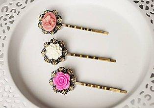 Ozdoby do vlasov - Sponky s ozdobou ružový motýľ - 7782600_