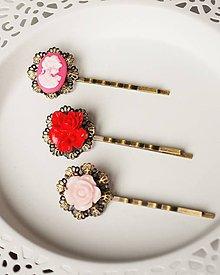 Ozdoby do vlasov - Sponky s ozdobou kvety a ružová lady - 7782689_