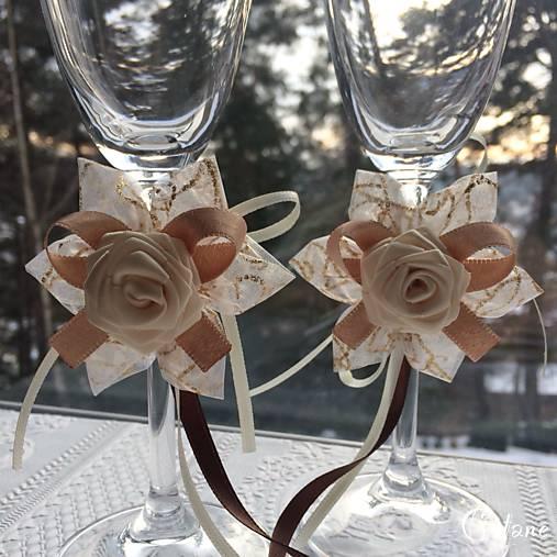 Dekorácia na svadobné poháre