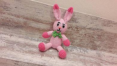 Dekorácie - malý zajko sv.ružovo/ružový - 7782940_