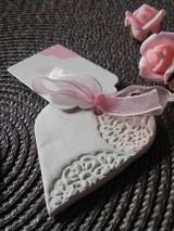 Darčeky pre svadobčanov - Svadobné magnetky s menovkami - púdrový dotyk mäty:-) - 7785335_