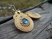 - Bárter :) Soutache náušnice Luxury Gold & Blue Sapphires  - 7786110_