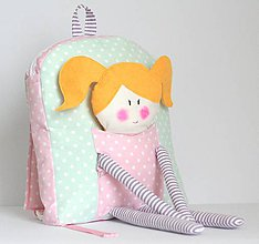 Detské tašky - RUKSAK s BÁBIKOU mentolovo - ružový 2,5r. - 7788278_