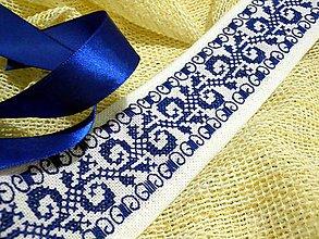 Opasky - Ľudový vyšívaný opasok Modrý - 7788181_