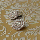 Náušnice - Wedding flowers- vyšívané náušnice - 7787672_