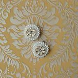 Náušnice - Wedding flowers n.2- vyšívané náušnice - 7787709_