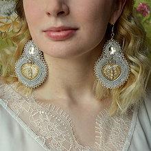 Náušnice - Voyage en Arabie- white silver -vyšívané náušnice - 7787563_