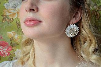 Náušnice - Wedding flowers n.2- vyšívané náušnice - 7787706_