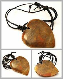 Náhrdelníky - Achát hnedý (srdce) - 7786670_