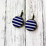 - Náušnice na francúzskych háčikoch Modro-biely prúžok - 7785118_