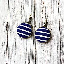 Náušnice - Náušnice na francúzskych háčikoch Modro-biely prúžok - 7785118_