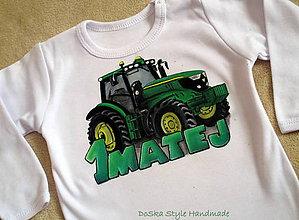Detské oblečenie - Traktor s menom zelený - 7785719_