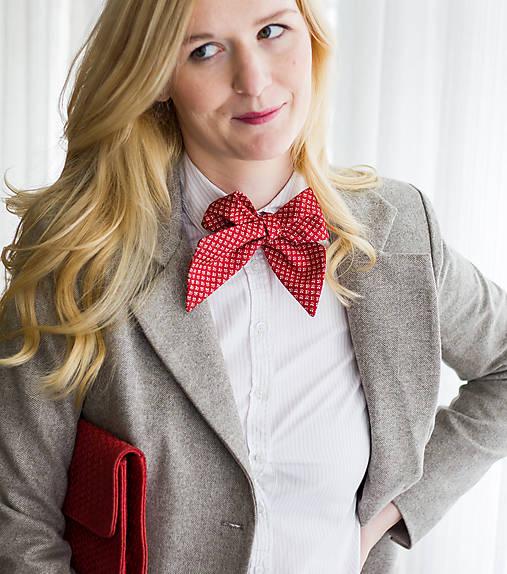 Šatky - Dámska kravata červená so vzorom - 7786810_