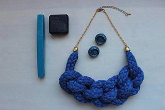 Náhrdelníky - Modrý pletenec veľký - 7788101_