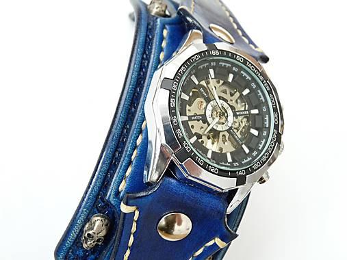 2bcbd444e Rockové hodinky modré, kožený náramok lebka / leon - SAShE.sk ...