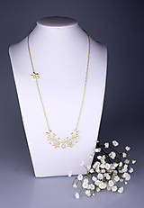 - Náhrdelník Kvety - dlhý 6cm žlté zlato - 7786879_
