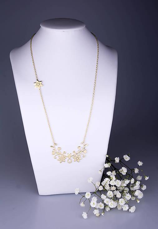 Náhrdelníky - Náhrdelník Kvety - dlhý 6cm žlté zlato - 7786879_