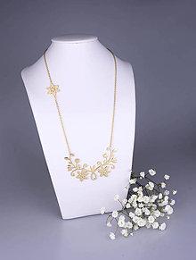 Náhrdelníky - Náhrdelník Kvety - dlhý 8cm žlté zlato - 7786895_