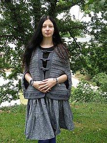 Iné oblečenie - Tmavěšedá pelerínka - 7783970_