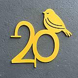 Tabuľky - *Kovové číslo na dom / bez rámu / s vtáčikom (1-2 číslice) - 7783654_