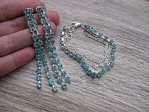 Sady šperkov - Svetlomodrá štrasová sada strieborná č.713 - 7784119_