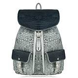 """- Kožený ruksak Rory """"Striebristý ornament-tmavomodré kroko"""" - 7787645_"""