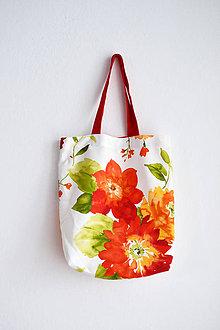 Nákupné tašky - Kvetovaná taška na nákupy - oranžová - 7784496_