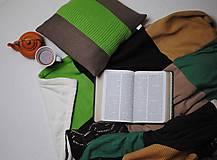 Úžitkový textil - Zelenohnedá deka s vankúšom - 7785724_