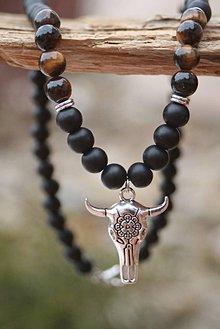 Šperky - Náhrdelník tigrie oko a ónyx - 7792045_
