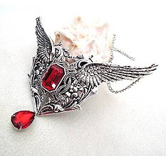Náhrdelníky - Red heart wings - 7792231_