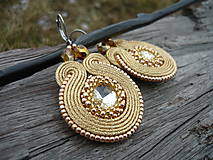 - Soutache náušnice Luxury Gold & Crystal - 7791554_