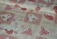 - Látka Čipkované srdce patchwork červené - 7788694_