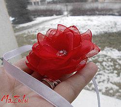 Náramky - svadobný náramok v červenom - 7792196_