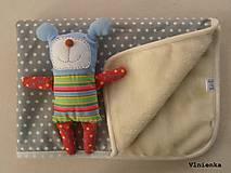 Ovčie rúno Deka pre bábätko 100% MERINO TOP super wash s kašmírom 70 x 100 cm Sivá hviezdička