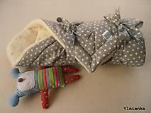 Textil - Klasická zavinovačka pre novorodenca zimná 100% MERINO TOP Hviezda sivá - 7789609_