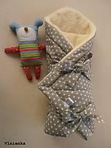 Textil - Klasická zavinovačka pre novorodenca zimná 100% MERINO TOP Hviezda sivá - 7789631_