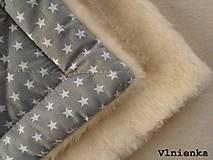 Textil - Klasická zavinovačka pre novorodenca zimná 100% MERINO TOP Hviezda sivá - 7789636_